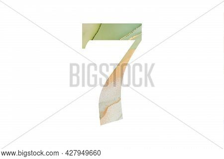 Decorative Numeral 7 With Abstract Hand-painted Alcohol Ink Texture. Isolated On White Background. I