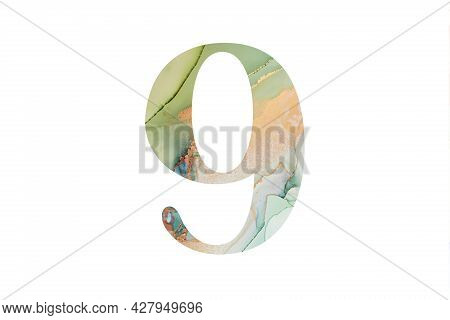 Decorative Numeral 9 With Abstract Hand-painted Alcohol Ink Texture. Isolated On White Background. I