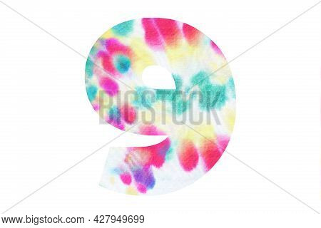 Decorative Numeral 9 With Abstract Hand-painted Tie Dye Texture. Isolated On White Background. Illus