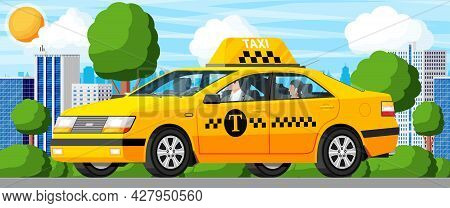 Taxi Car With Driver And Cityscape. Yellow Taxi Sedan Cab Icon. Call Or App Taxi Concept. City Trans