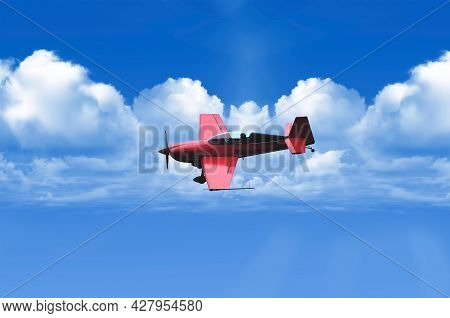 Biplane In Blue Sky Over Clouds. Transportation