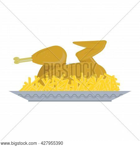 Fried Chicken With Potatoes On White Background. Organic Meat. Roasted Turkey And French Fries