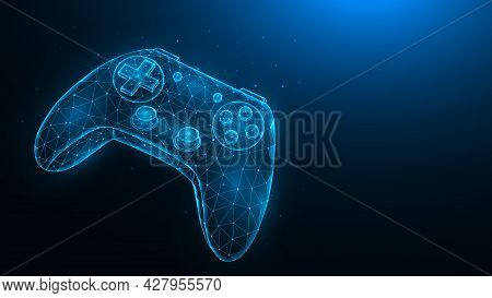 Joystick For Video Games Low Poly Design. Polygonal Illustration Of A Game Controller On A Dark Blue