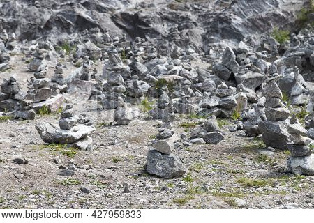 A Lot Of Stone Cairns At Former Marble Quarry In Ruskeala, Karelia, Russia