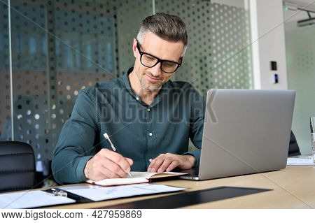 Happy Mature Executive Ceo Manager Using Laptop Writing Notes In Notebook At Workplace. Smiling Midd