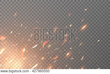 Fire Sparks. Flying Particles On Transparent Backdrop. Realistic Flame Elements. Burning Orange Fire
