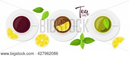 Tea Time Text. Three Cups Of Tea, Black, With Lemon, Green With Mint. Design For Party Invitation, C