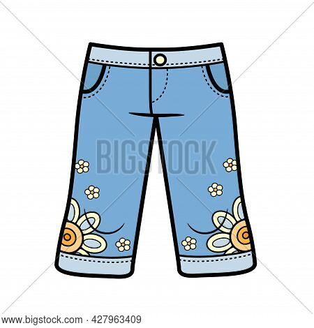 Denim Breeches Just Below The Knee Color Variation For Coloring On A White Background