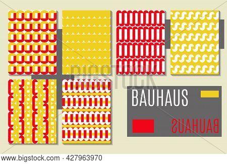 Set Of Abstract Geometric Seamless Patterns, Background, Covers. Modern Minimal Bauhaus Design.  Col
