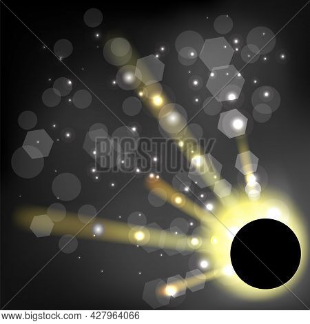 Total Solar Eclipse On Black Background. Abstract Light Effect. Space Landscape