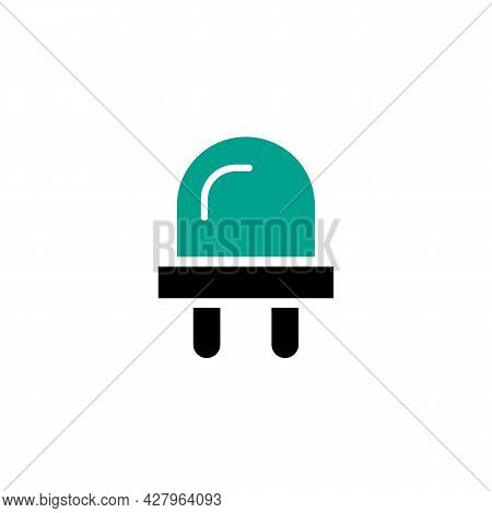 Green Led Lamp.electronic Equipment.green Macro Diode. Trendy Flat Isolated Outline Symbol On White