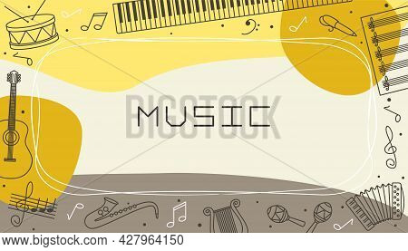 Vector Design Templates For Music In Simple Modern Style With Linear Elements. Musical Instruments A