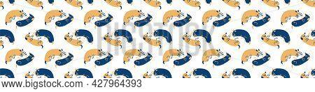 Seamless Cartoon Pet Sausage Dog Doodle Border. Whimsical Minimal 2 Tone Gender Neutral Color. Kids