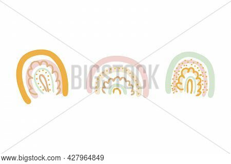 Doodle Vector Collection Of Multicolor Rainbows. Perfect For T-shirt, Textile And Prints. Hand Drawn