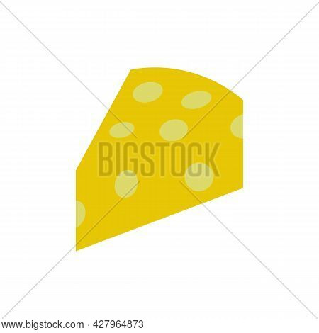 Cheese Slice Color Line Icon. Cheese Advertising. Trendy Flat Isolated Outline Symbol On White Can B