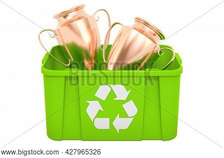 Recycling Trashcan With Golden Trophy Cup Award, 3d Rendering Isolated On White Background