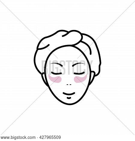 Girl Face Line Icon. Beauty Salon Abstract Concept. Advertising Cream. Trendy Flat Isolated Symbol S