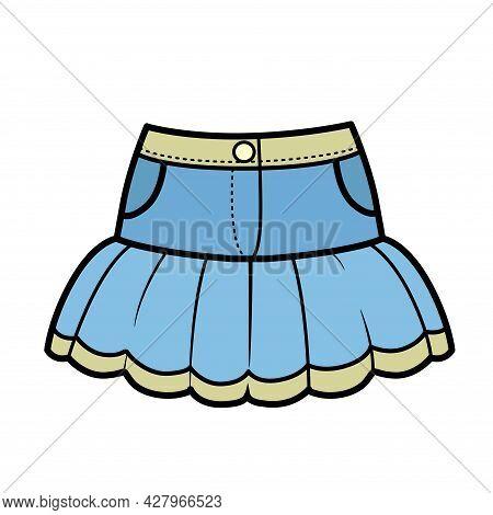 Denim Bunk Skirt Color Variation For Coloring On A White Background