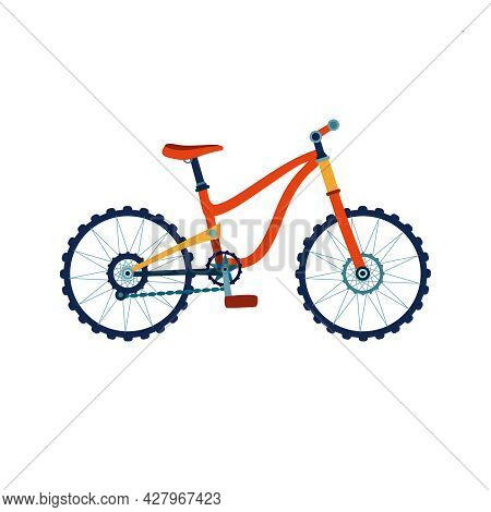 Kids Bicycle In Flat Style. Colorful Bike Icon, Playing Game Toy. Vector Illustration.