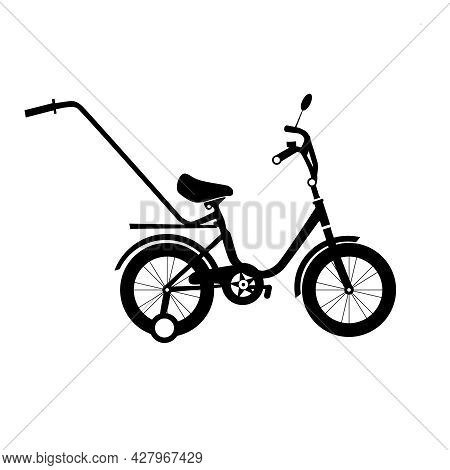 Kids Bicycle Black Silhouette. Black Bike Icon, Playing Game Toy. Vector Illustration.