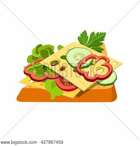 Classic Hotel Breakfast Sandwich With Vegetables, Salad And Cheese. Tasty Toast. Brunch Healthy Star