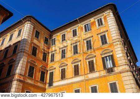 Rome, Italy, August 2014: Typical natural view of usual old residential buildings in Rome, Italy