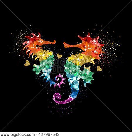 Rainbow And Gold Colors Glittering Seahorses With Hearts And Glitter Glow. Beautiful Colorful Silhou
