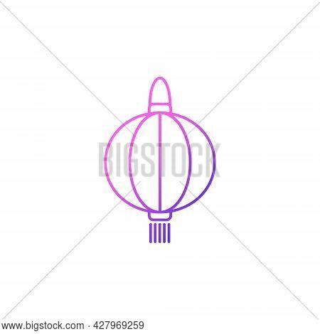 Taiwanese Paper Lantern Festival Outline Icon. Taiwan. Oriental Custom. Asian Item. Purple Gradient