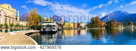 Scenic lake Lago di Garda, view of harming town resort Riva del Garda. Trentino, Italy nov 2020