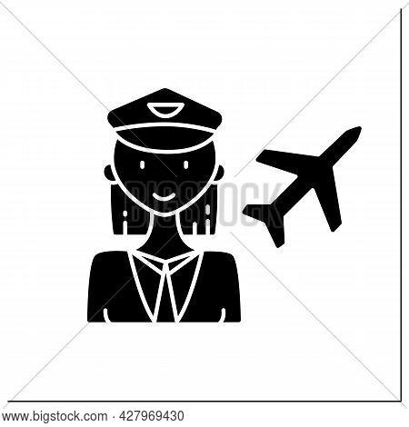 Woman Pilot Glyph Icon. Female Pilot. Person Piloting Plane. Successful Strong Woman Concept. Filled