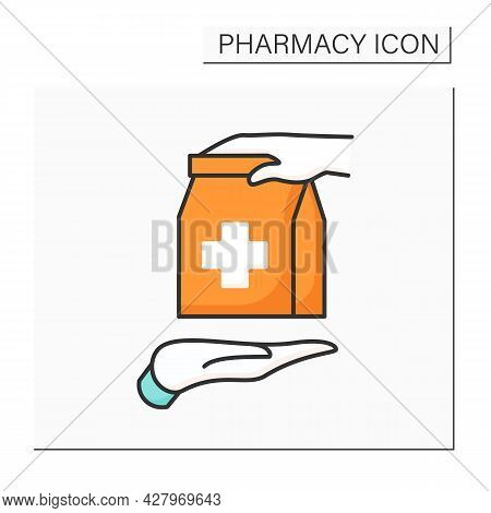 Otc Color Icon. Over The Counter. Retail Purchase. Selling Medical Production Without Prescription O