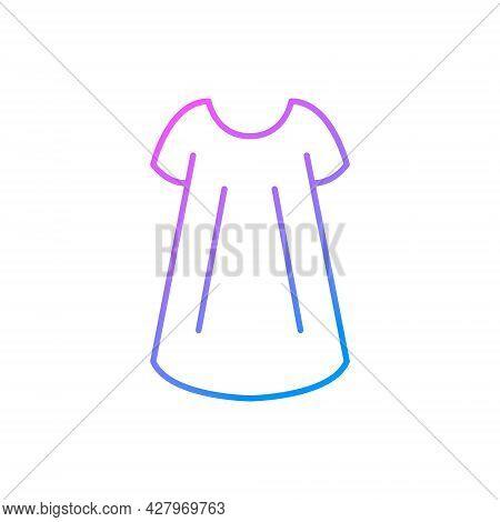 Size Free Woman Gown Outline Icon. Baby Doll Style. Homewear And Sleepwear. Purple Gradient Symbol.