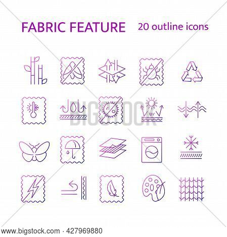 Fabric Qualities Outline Icons Set. Textile Industry. Silk, Natural Dye, Breathable Material. Bamboo