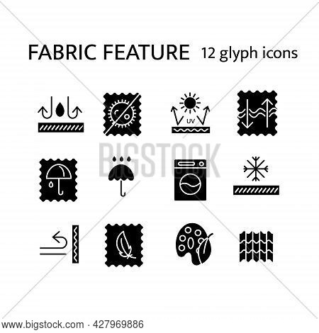 Fabric Properties Glyph Icons Set. Fiber Diversity. Natural Dye, Snowproof Fiber. Antimicrobial Wear