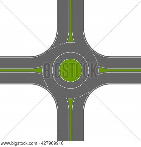 Empty Roundabout Top View. Circular Traffic Intersection. Round Road Junction Isolated On White Back