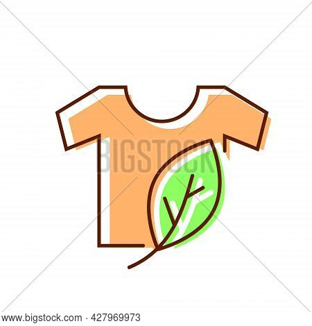 Organic Material Label Flat Icon. Shirt With Leaf. Fabric Feature. Textile Industry. Color Symbol. I