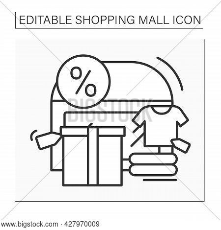 Outlet Center Line Icon. Shopping Center Offers Clothing, Shoes From Past Collections Of Well-known