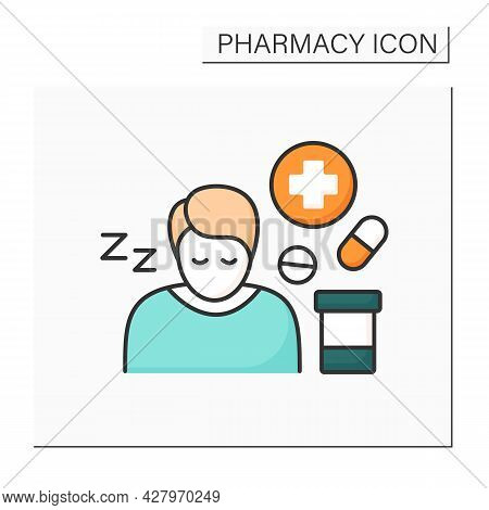 Side Effects Color Icon. Secondary Drugs Adverse Effect. Side Reaction On Pills. Drowsiness. Pharmac