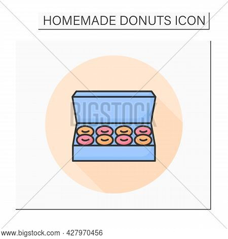 Donuts Box Color Icon. Big Open Cardboard Pack Of Homemade Pasty. Concept Of Tasty And Fresh Doughnu