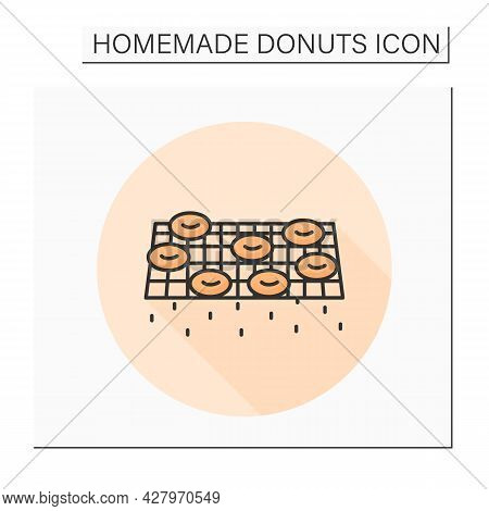Donuts Color Icon. Steel Wire Rack Resting And Oil Draining Doughnuts. Concept Of Sweet Pastry Home