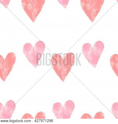 Pink Watercolor Textured Hearts Seamless Pattern On White Background. Romantic Minimalistic Vector B