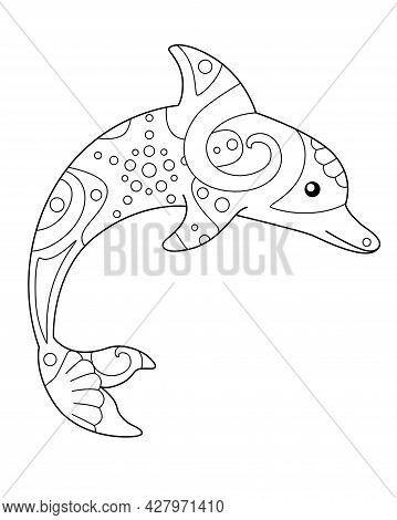 Dolphin - Vector Linear Illustration With Zentangles For Coloring. Outline. Jumping Dolphin - Sea Co