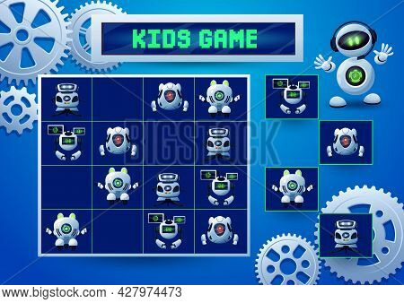 Sudoku Kids Game With Robots, Pinions And Gears. Education Game, Logic Block Puzzle Or Riddle, Vecto