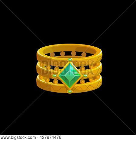 Magic Ring Of The Wizard With Green Gemstones, Vector Sorcerer Golden Jewelry. Fantasy Gold Witch Je