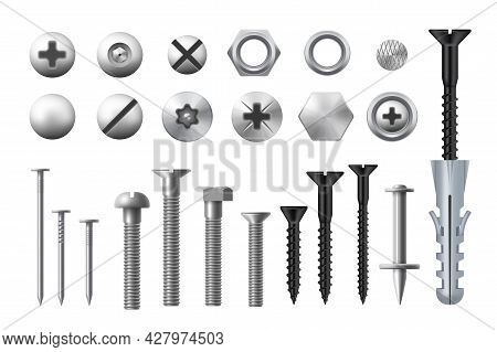 Metal Bolts, Screws, Nuts And Nails. Realistic Vector Metal Fasteners And Rivets, Woodwork And Metal