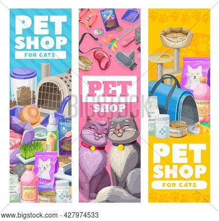 Pet Care Banners, Cat Care Items And Toys. Vector Zoo Shop Goods For Cats And Kitten. Equipment For