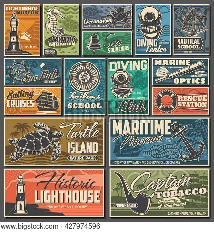 Nautical And Marine Vintage Posters. Diving Club, Maritime History Museum And Rescue Station, Sailin