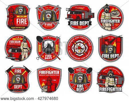 Firefighting Icons, Heraldic Symbols, Vector Protective Helmet And Gas Mask, Fire Axe And Shovel. Ex