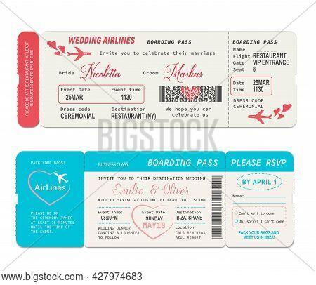 Boarding Pass Tickets, Wedding Invitation Vector Template. Wedding Airline Flight Boardpass Card, Ai
