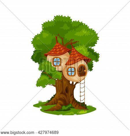 Fairy House Or Dwelling On Oak Tree. Cartoon Vector Fairytale Creature Hut On Tree, Dwarf Or Elf Hom